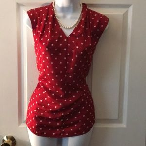 Lord & Taylor Red & White Blouse